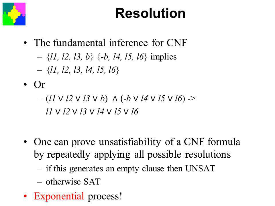 Resolution The fundamental inference for CNF –{l1, l2, l3, b} {-b, l4, l5, l6} implies –{l1, l2, l3, l4, l5, l6} Or –(l1 ∨ l2 ∨ l3 ∨ b) ∧ ( -b ∨ l4 ∨ l5 ∨ l6) -> l1 ∨ l2 ∨ l3 ∨ l4 ∨ l5 ∨ l6 One can prove unsatisfiability of a CNF formula by repeatedly applying all possible resolutions –if this generates an empty clause then UNSAT –otherwise SAT Exponential process!