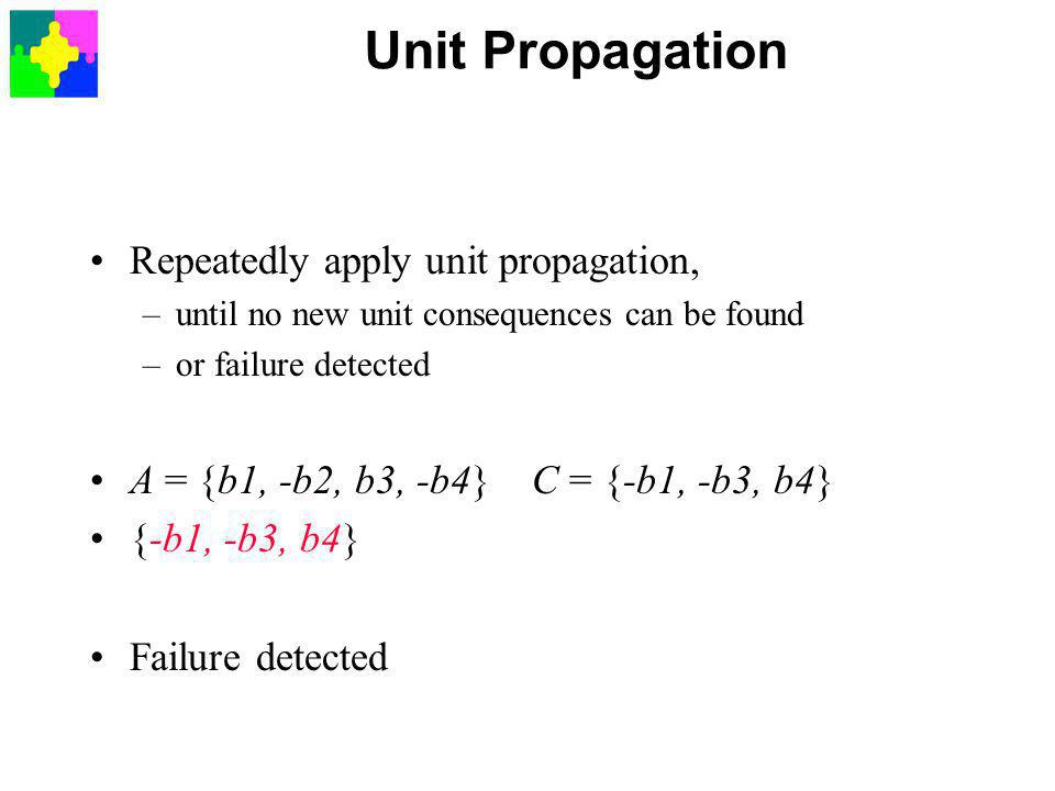 Unit Propagation Repeatedly apply unit propagation, –until no new unit consequences can be found –or failure detected A = {b1, -b2, b3, -b4} C = {-b1, -b3, b4} {-b1, -b3, b4} Failure detected
