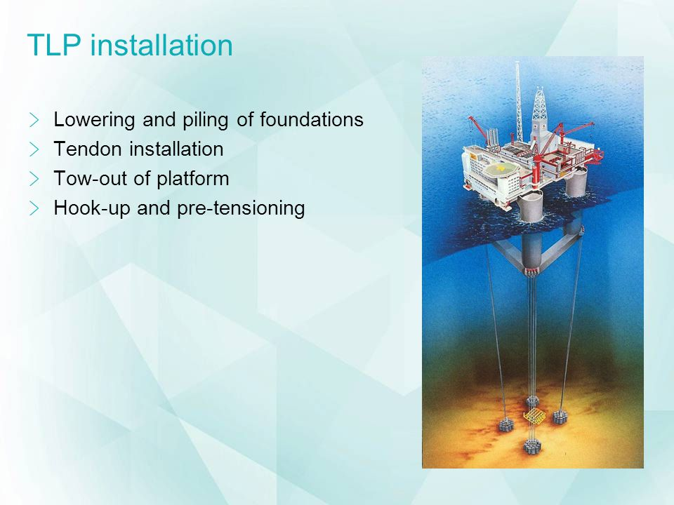 TLP installation Lowering and piling of foundations Tendon installation Tow-out of platform Hook-up and pre-tensioning