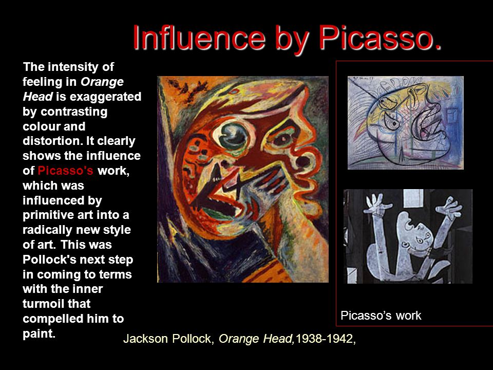 Jackson Pollock, Orange Head, , The intensity of feeling in Orange Head is exaggerated by contrasting colour and distortion.