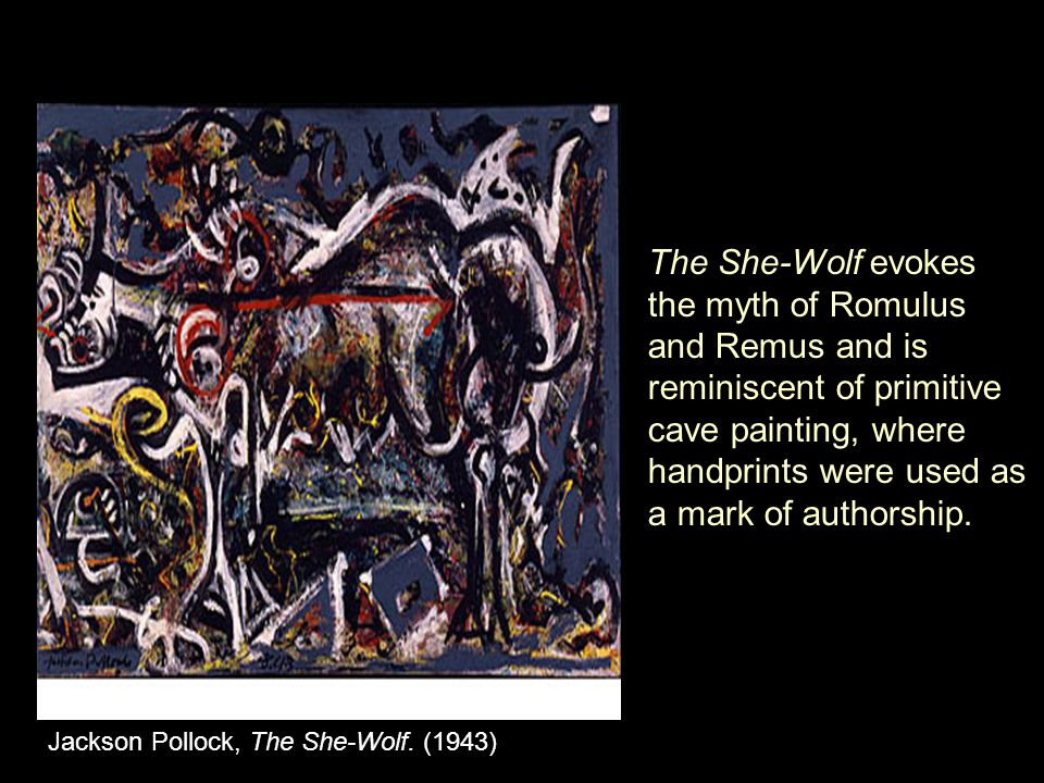 The She-Wolf evokes the myth of Romulus and Remus and is reminiscent of primitive cave painting, where handprints were used as a mark of authorship.
