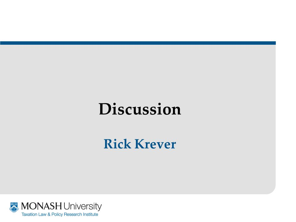 Discussion Rick Krever