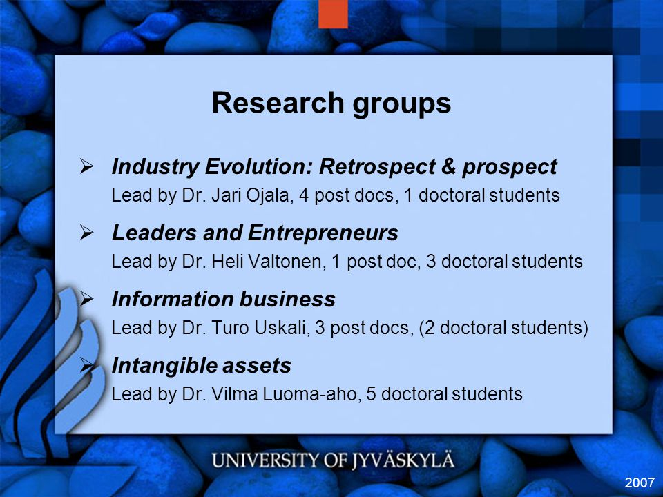 2007 Research groups  Industry Evolution: Retrospect & prospect Lead by Dr.