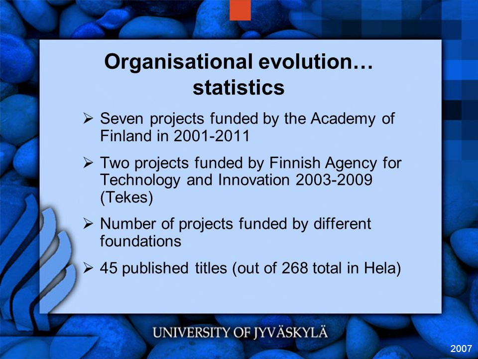 2007 Organisational evolution… statistics  Seven projects funded by the Academy of Finland in 2001-2011  Two projects funded by Finnish Agency for Technology and Innovation 2003-2009 (Tekes)  Number of projects funded by different foundations  45 published titles (out of 268 total in Hela)