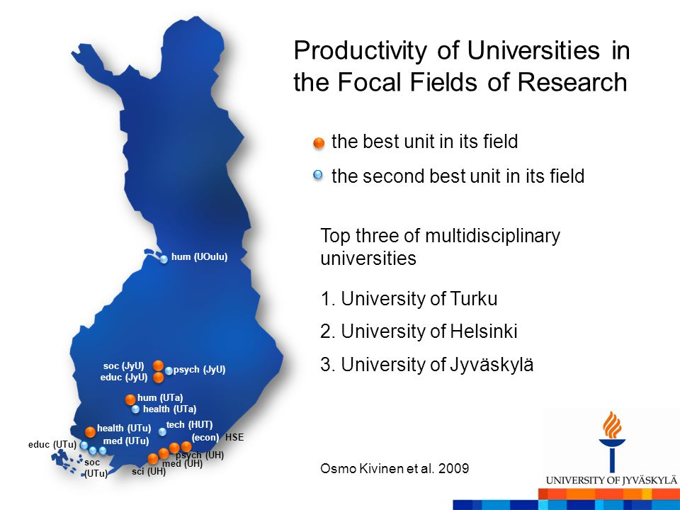 the best unit in its field the second best unit in its field Productivity of Universities in the Focal Fields of Research 1.