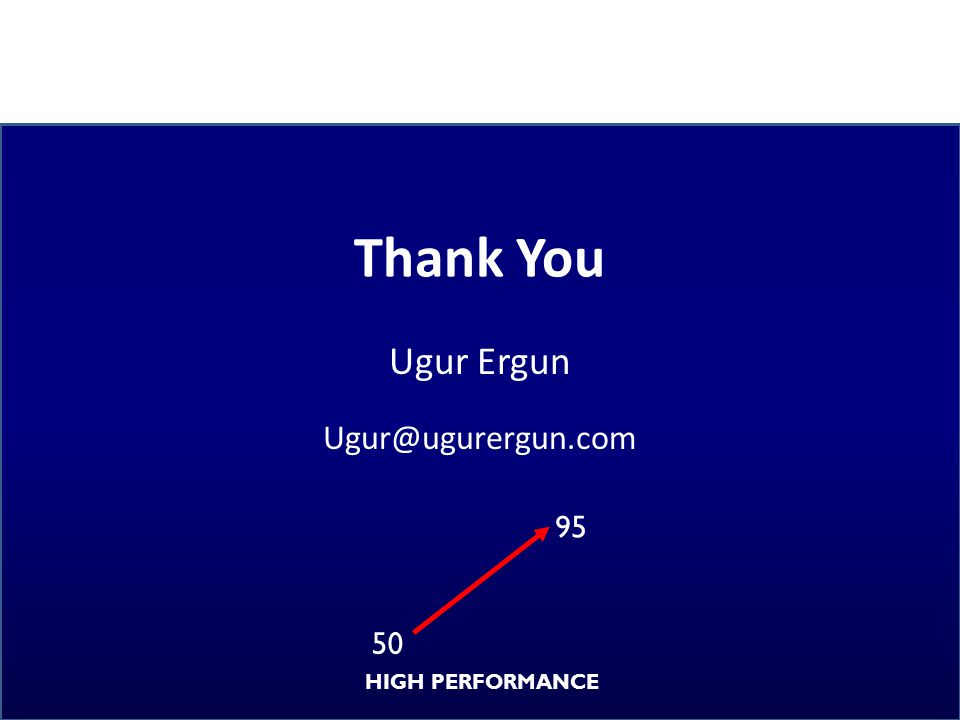 Thank You Ugur Ergun Ugur@ugurergun.com 95 50 HIGH PERFORMANCE