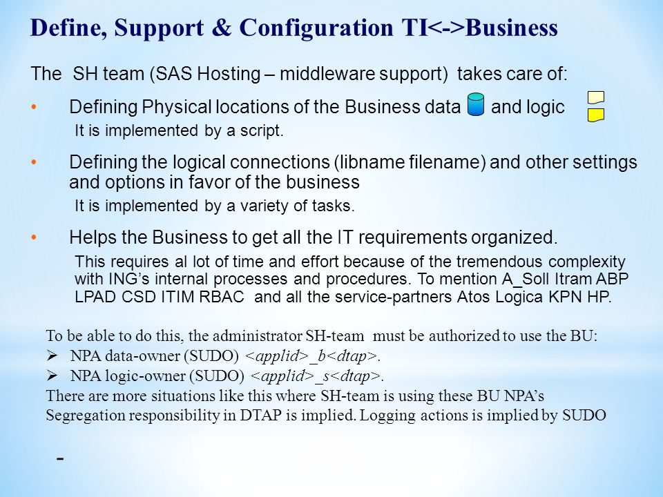 11 The SH team (SAS Hosting – middleware support) takes care of: Defining Physical locations of the Business data and logic It is implemented by a scr