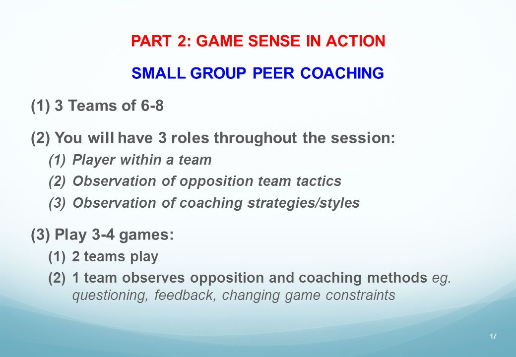 PART 2: GAME SENSE IN ACTION SMALL GROUP PEER COACHING (1)3 Teams of 6-8 (2)You will have 3 roles throughout the session: (1)Player within a team (2)O
