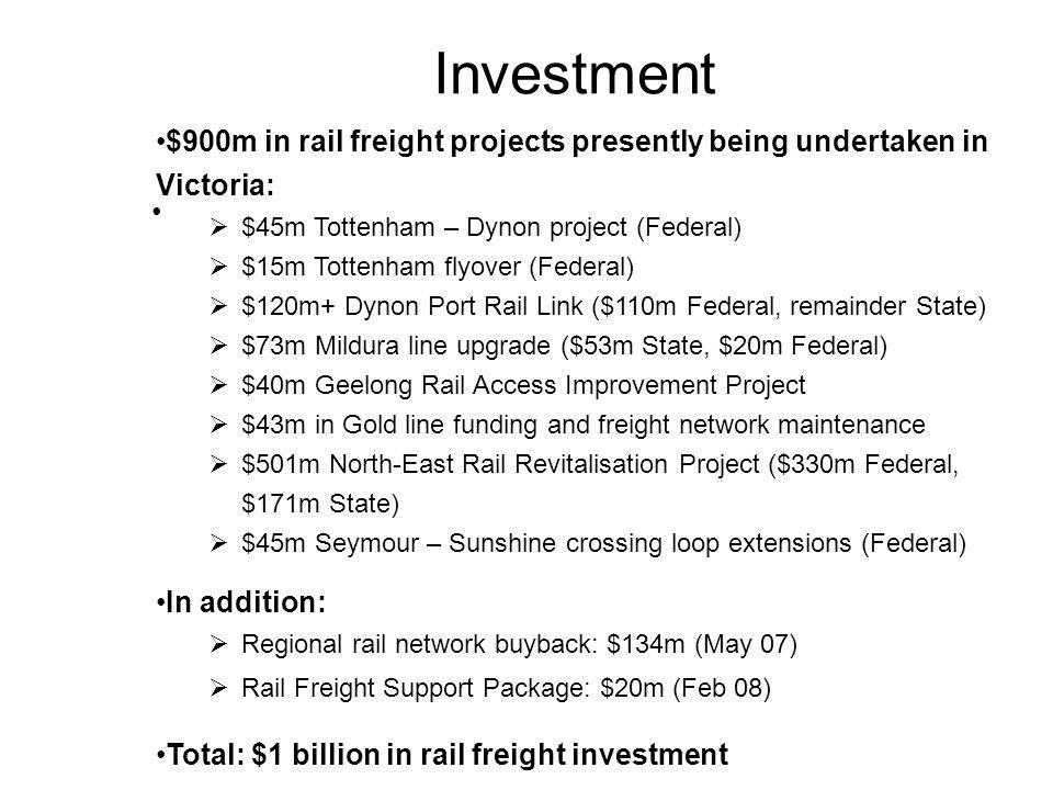 Investment $900m in rail freight projects presently being undertaken in Victoria:  $45m Tottenham – Dynon project (Federal)  $15m Tottenham flyover