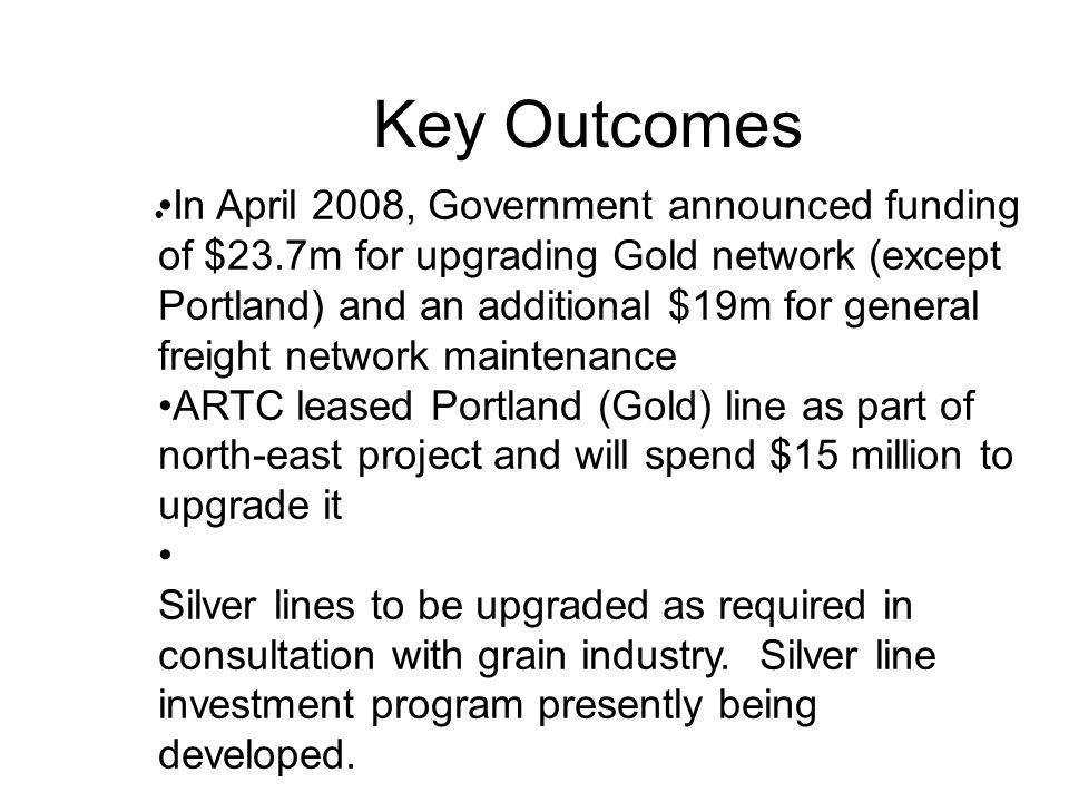 Key Outcomes In April 2008, Government announced funding of $23.7m for upgrading Gold network (except Portland) and an additional $19m for general freight network maintenance ARTC leased Portland (Gold) line as part of north-east project and will spend $15 million to upgrade it Silver lines to be upgraded as required in consultation with grain industry.