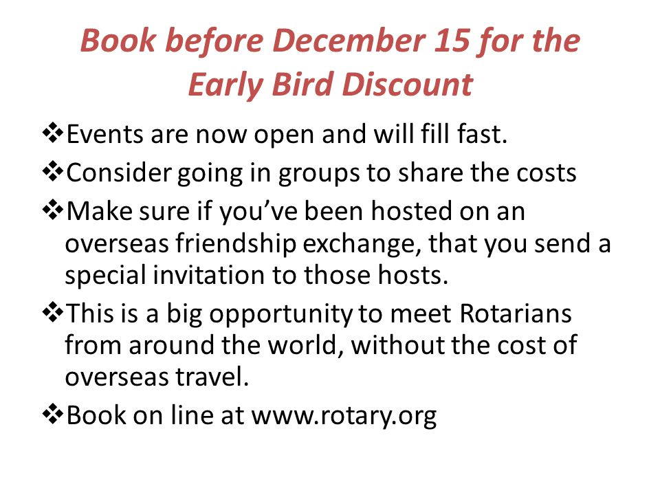 Book before December 15 for the Early Bird Discount  Events are now open and will fill fast.