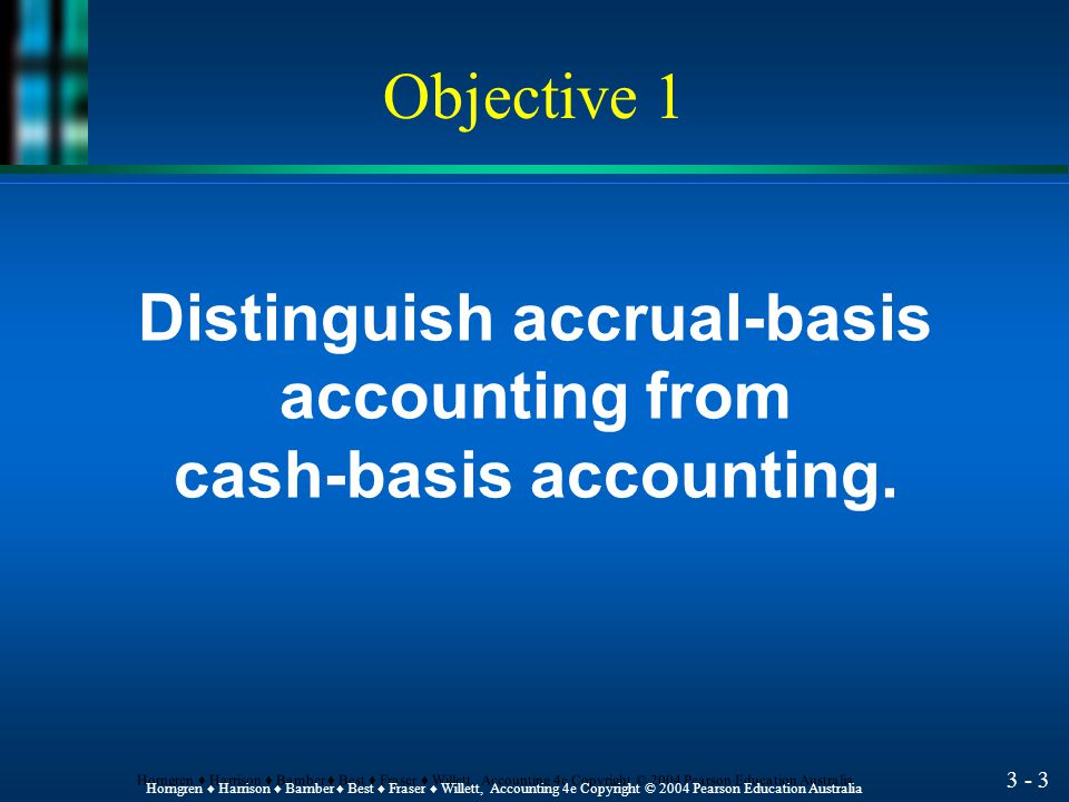 3 - 2 Horngren ♦ Harrison ♦ Bamber ♦ Best ♦ Fraser ♦ Willett, Accounting 4e Copyright © 2004 Pearson Education Australia Objectives 1.