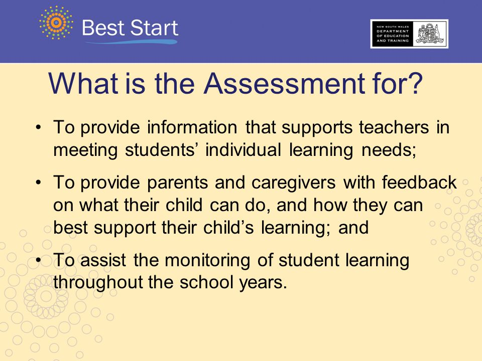 What is the Assessment for? To provide information that supports teachers in meeting students' individual learning needs; To provide parents and careg