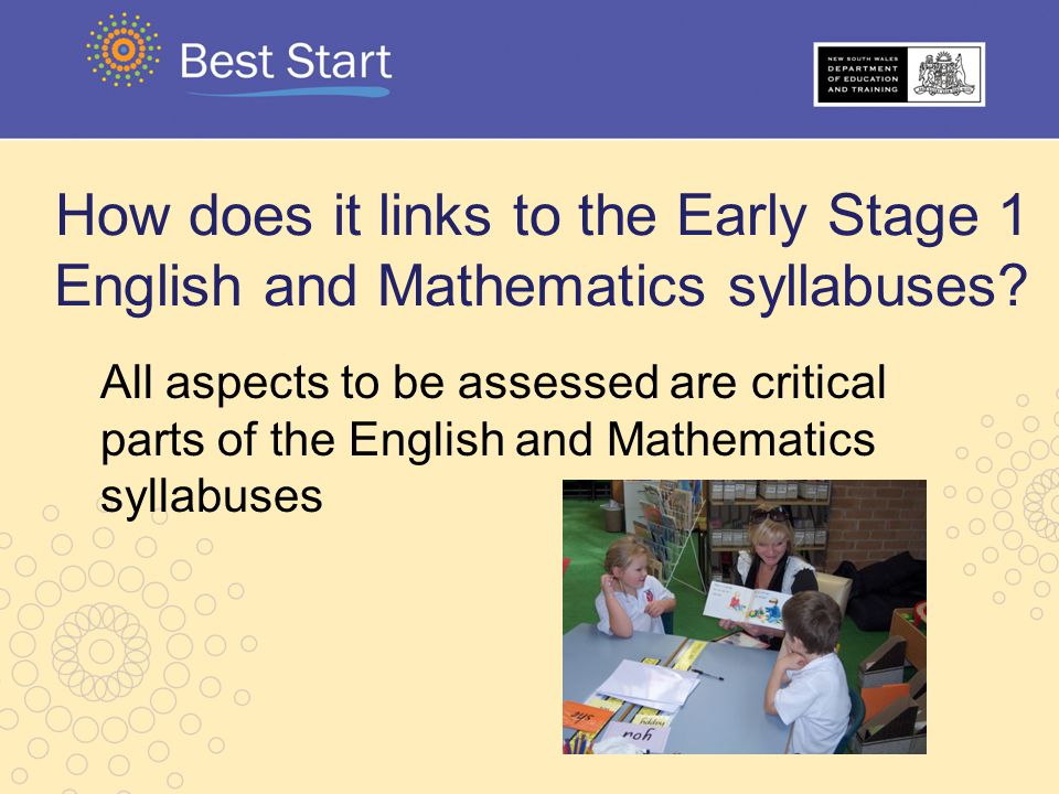 How does it links to the Early Stage 1 English and Mathematics syllabuses? All aspects to be assessed are critical parts of the English and Mathematic
