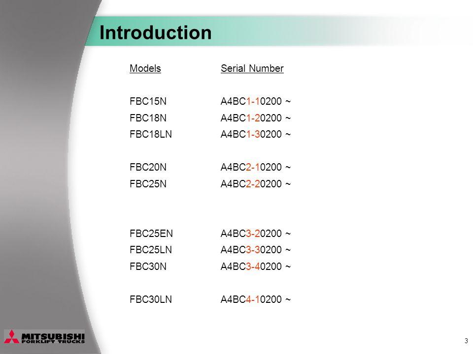 3 ModelsSerial Number FBC15NA4BC1-10200 ~ FBC18NA4BC1-20200 ~ FBC18LNA4BC1-30200 ~ FBC20NA4BC2-10200 ~ FBC25NA4BC2-20200 ~ FBC25ENA4BC3-20200 ~ FBC25LNA4BC3-30200 ~ FBC30NA4BC3-40200 ~ FBC30LNA4BC4-10200 ~