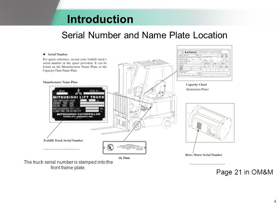 4 Serial Number and Name Plate Location Introduction Page 21 in OM&M The truck serial number is stamped into the front frame plate.