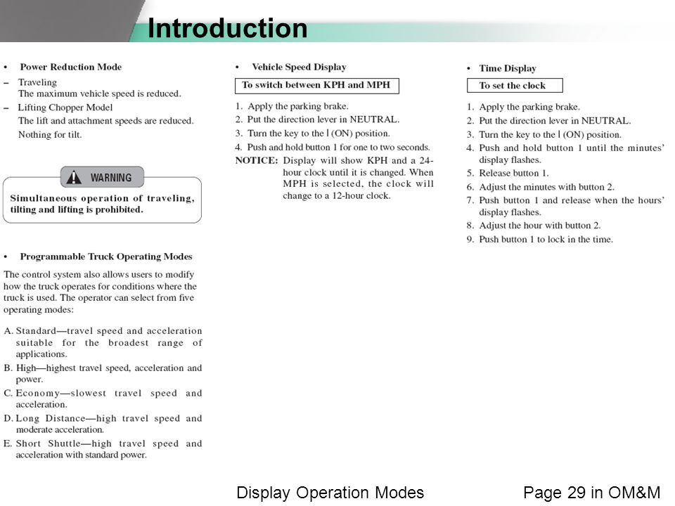 Introduction Page 29 in OM&MDisplay Operation Modes