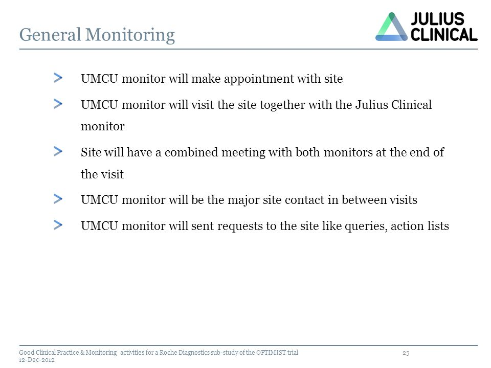25 General Monitoring Good Clinical Practice & Monitoring activities for a Roche Diagnostics sub-study of the OPTIMIST trial 12-Dec-2012 UMCU monitor