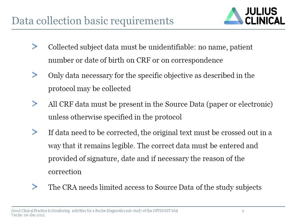 20 Amendments Any changes to the study protocol or procedures must be approved by the METC before implementation Changes are considered substantial or nonsubstantial (only administrative changes) amendments to be submitted to the METC Good Clinical Practice & Monitoring activities for a Roche Diagnostics sub-study of the OPTIMIST trial Versie: 06-dec-2012