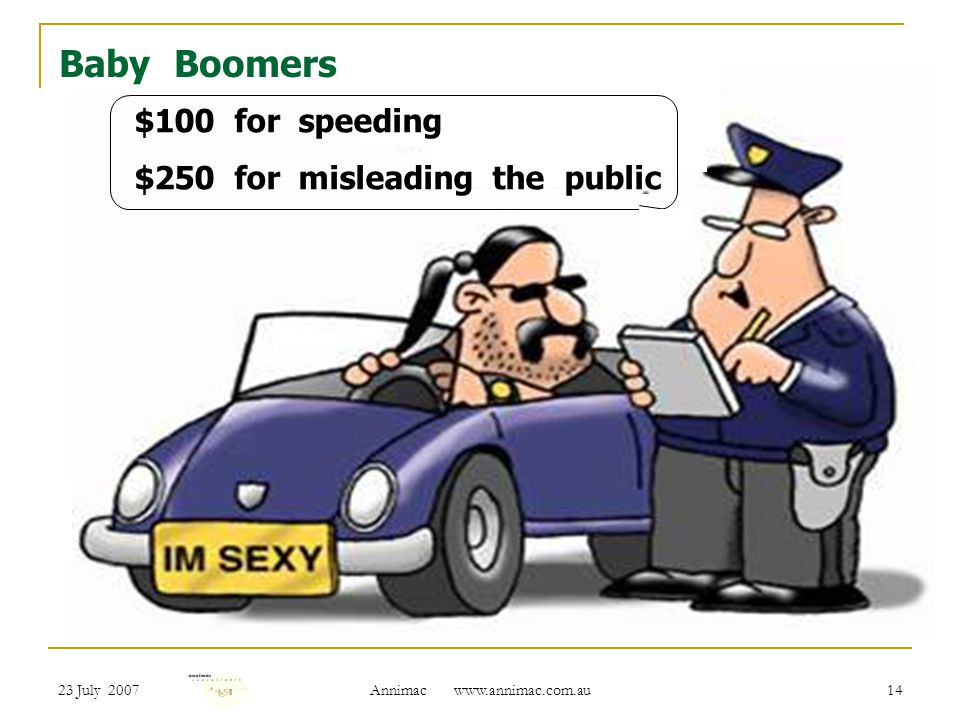 23 July 2007 Annimac   14 Baby Boomers $100 for speeding $250 for misleading the public