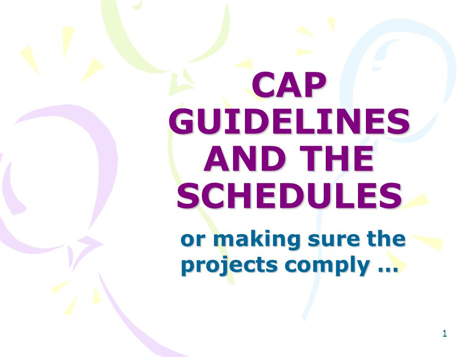 1 CAP GUIDELINES AND THE SCHEDULES or making sure the projects comply … or making sure the projects comply …