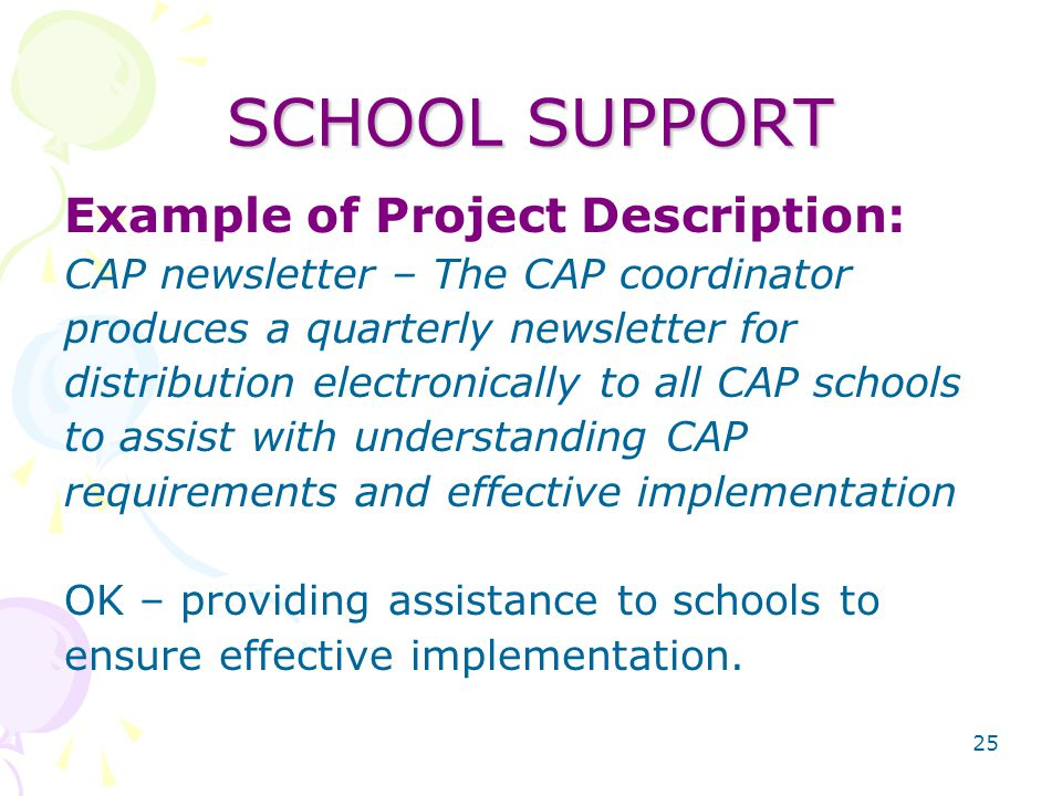 25 SCHOOL SUPPORT Example of Project Description: CAP newsletter – The CAP coordinator produces a quarterly newsletter for distribution electronically to all CAP schools to assist with understanding CAP requirements and effective implementation OK – providing assistance to schools to ensure effective implementation.