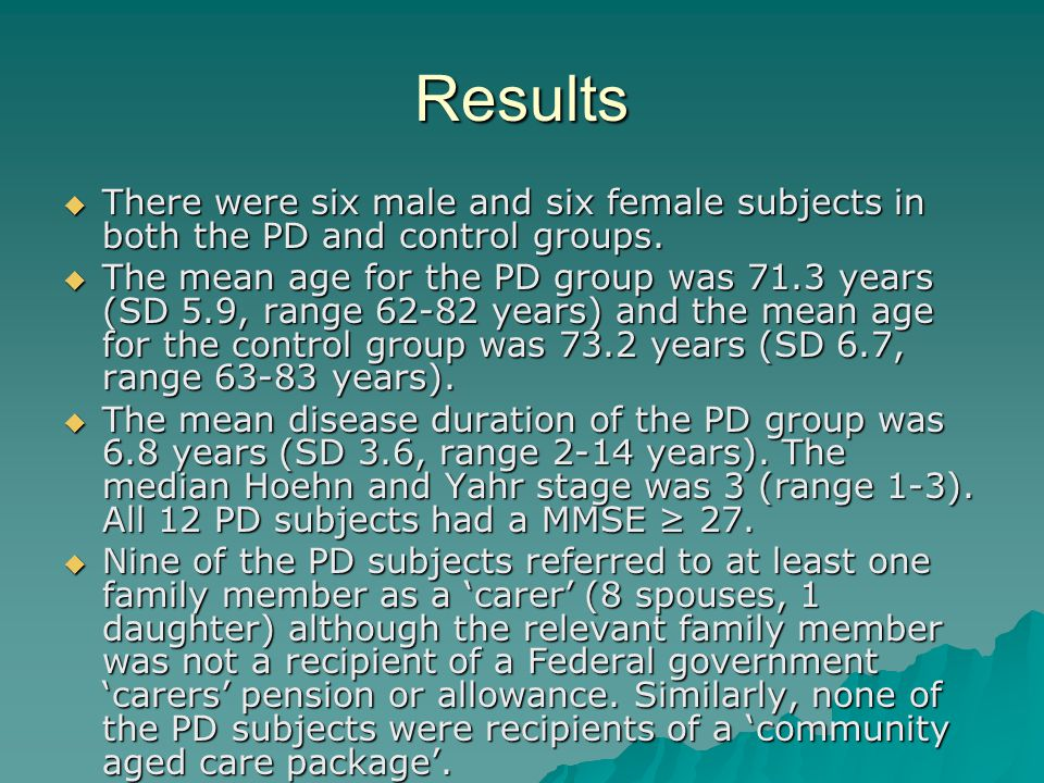 Results  There were six male and six female subjects in both the PD and control groups.