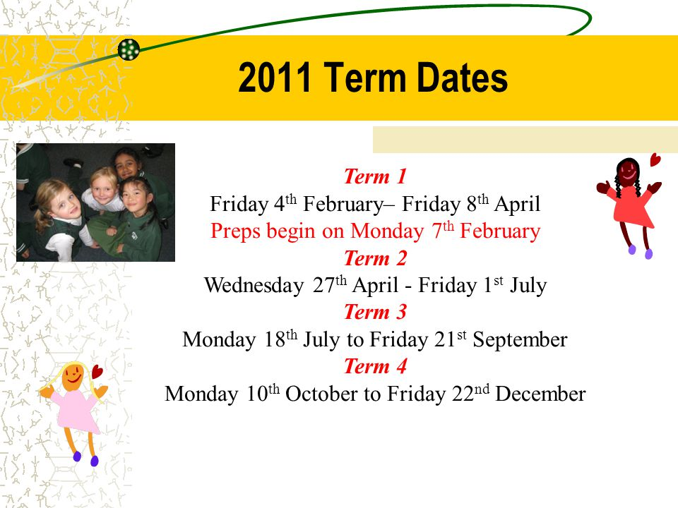 2011 Term Dates Term 1 Friday 4 th February– Friday 8 th April Preps begin on Monday 7 th February Term 2 Wednesday 27 th April - Friday 1 st July Term 3 Monday 18 th July to Friday 21 st September Term 4 Monday 10 th October to Friday 22 nd December