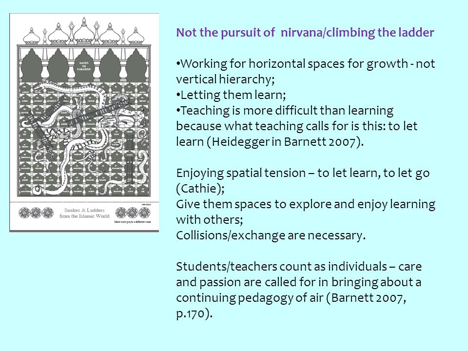Not the pursuit of nirvana/climbing the ladder Working for horizontal spaces for growth - not vertical hierarchy; Letting them learn; Teaching is more difficult than learning because what teaching calls for is this: to let learn (Heidegger in Barnett 2007).
