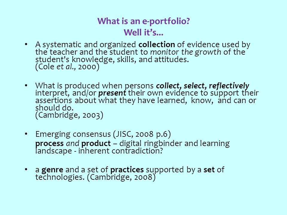 What is an e-portfolio. Well it's...
