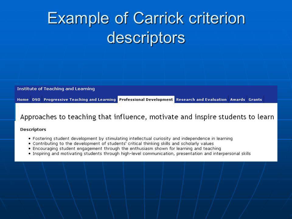 Example of Carrick criterion descriptors