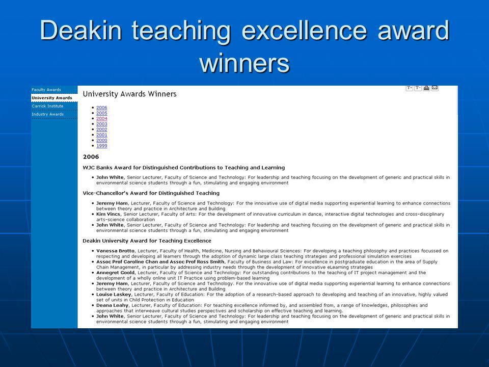 Deakin teaching excellence award winners