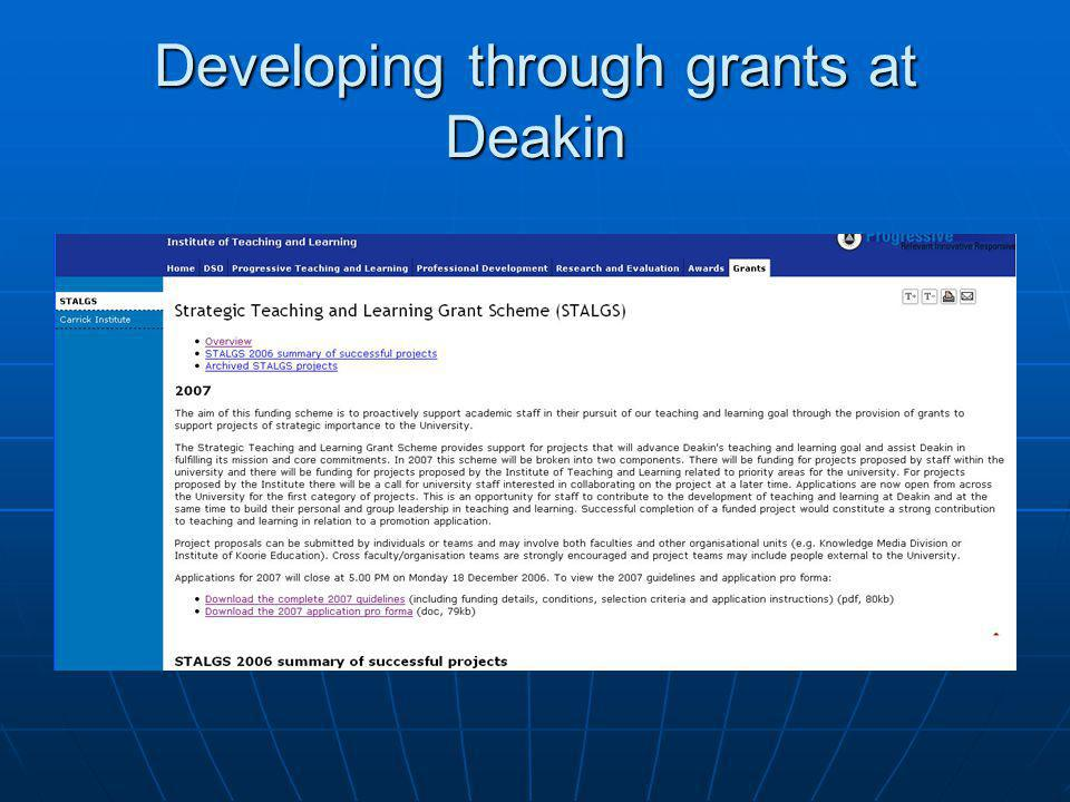 Developing through grants at Deakin