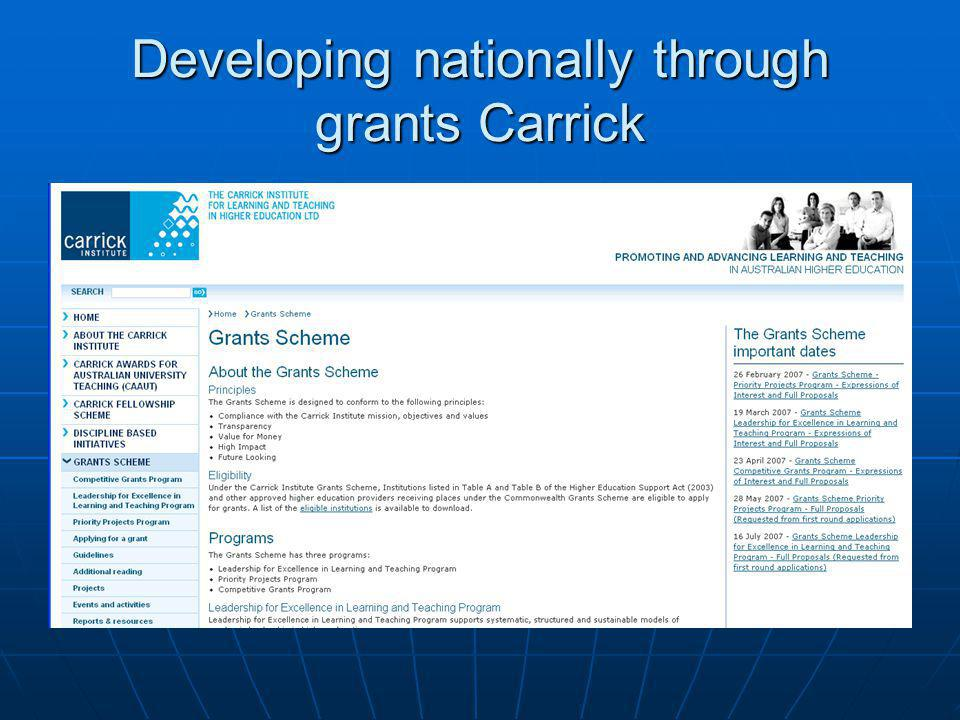 Developing nationally through grants Carrick