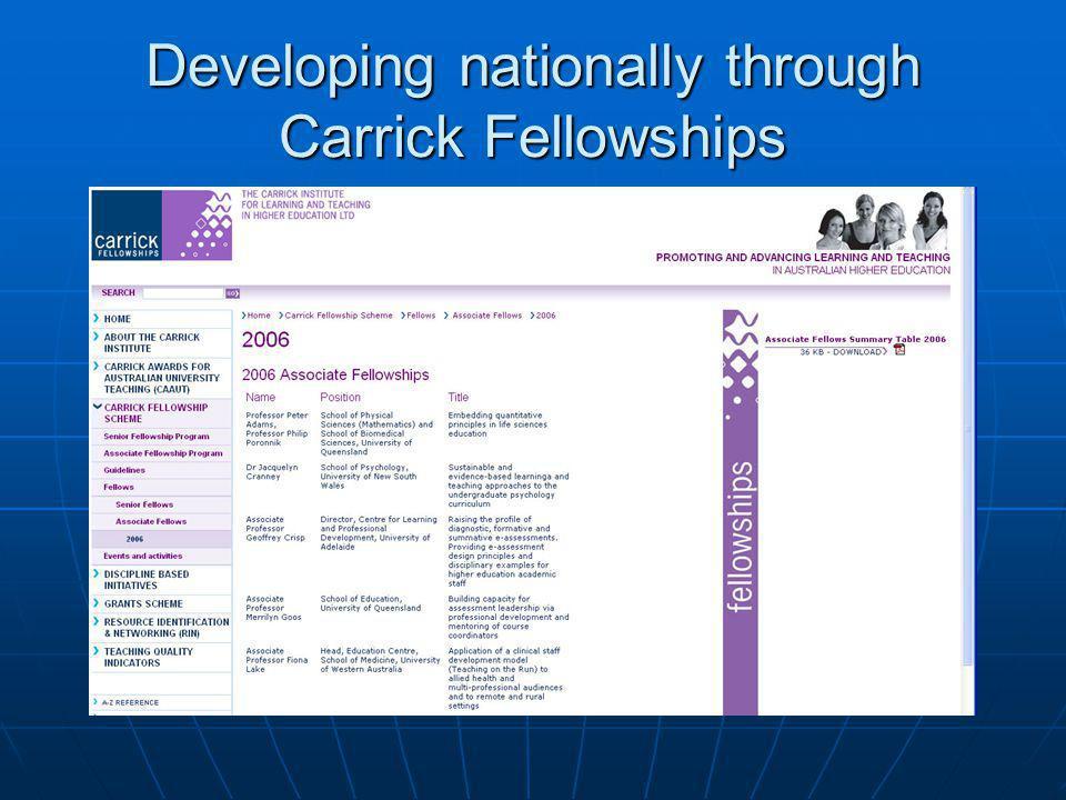 Developing nationally through Carrick Fellowships