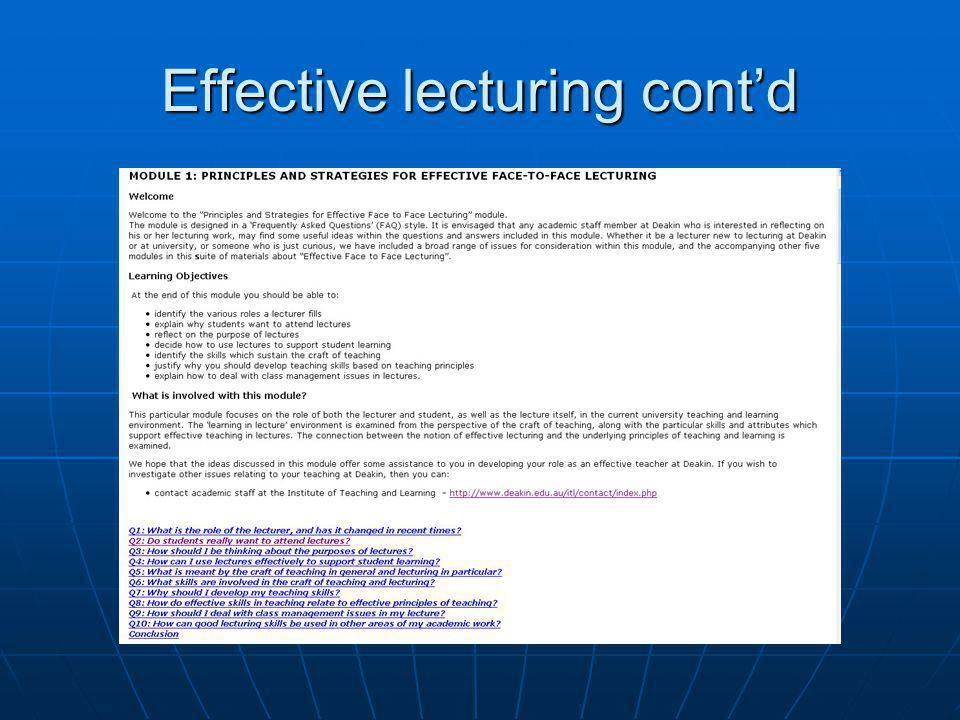 Effective lecturing cont'd