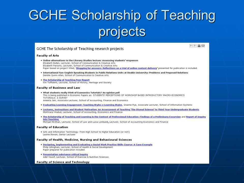 GCHE Scholarship of Teaching projects