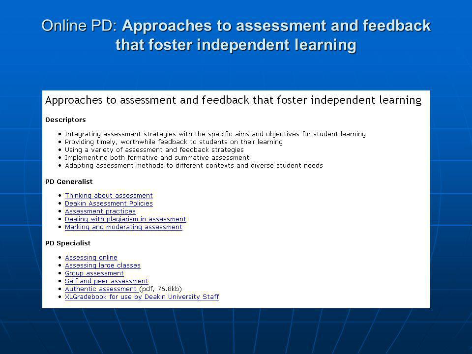 Online PD: Approaches to assessment and feedback that foster independent learning
