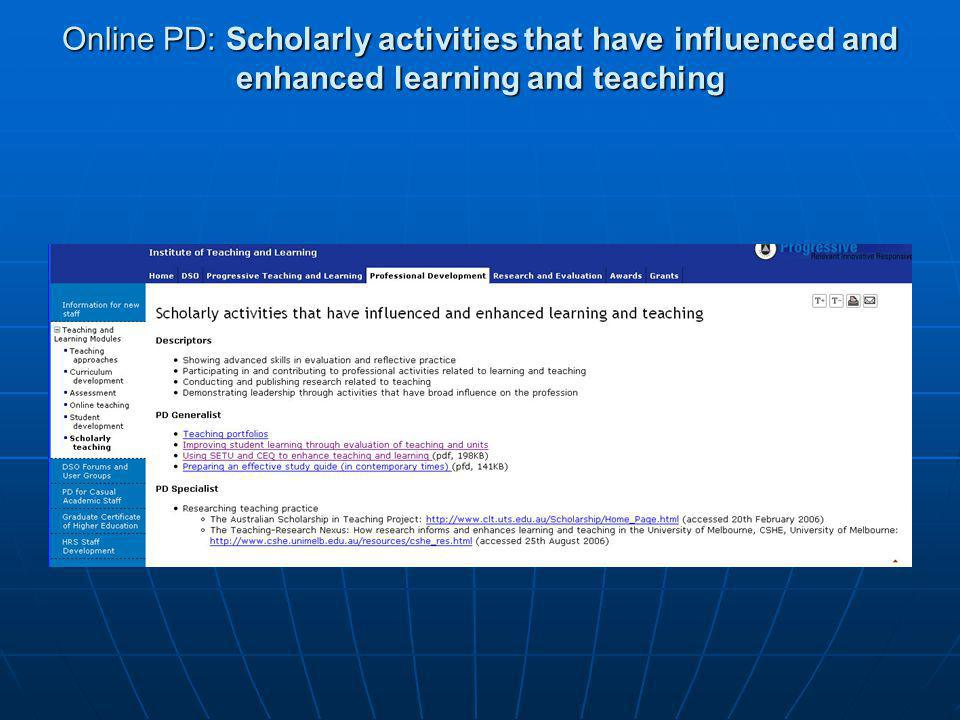 Online PD: Scholarly activities that have influenced and enhanced learning and teaching