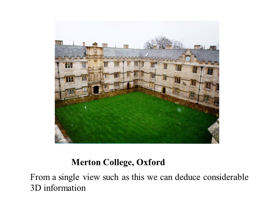 Merton College, Oxford From a single view such as this we can deduce considerable 3D information