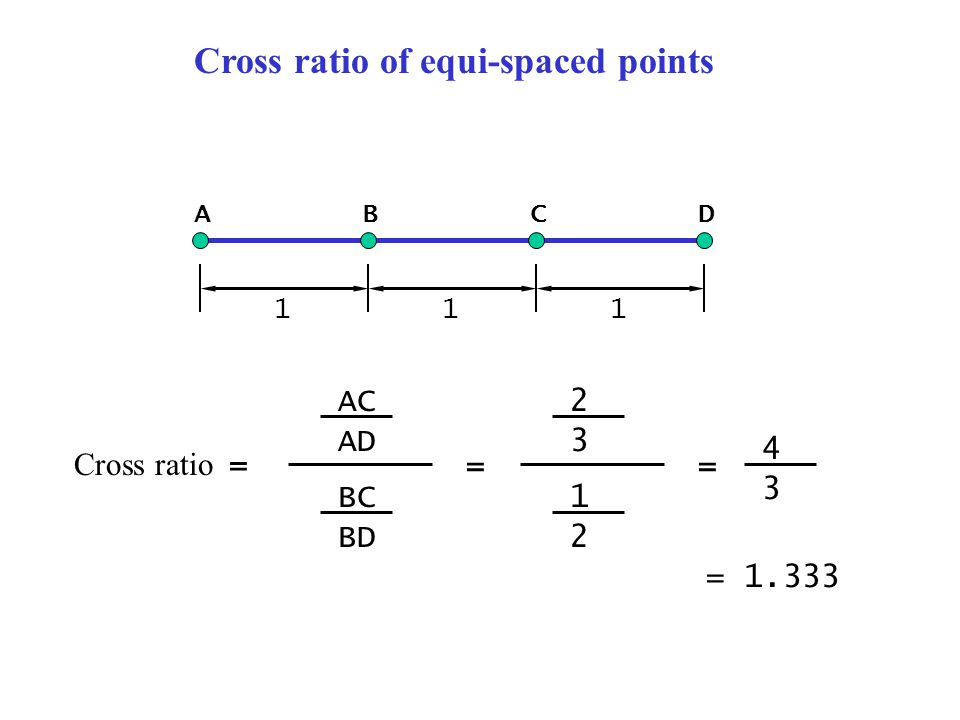 ABCD 111 Cross ratio = AC AD BC BD 2 3 1 2 == 4 3 = 1.333 Cross ratio of equi-spaced points
