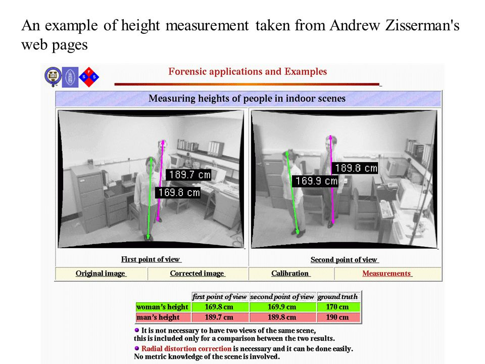 An example of height measurement taken from Andrew Zisserman s web pages