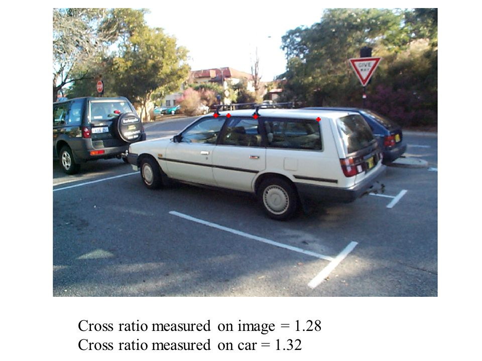 Cross ratio measured on image = 1.28 Cross ratio measured on car = 1.32