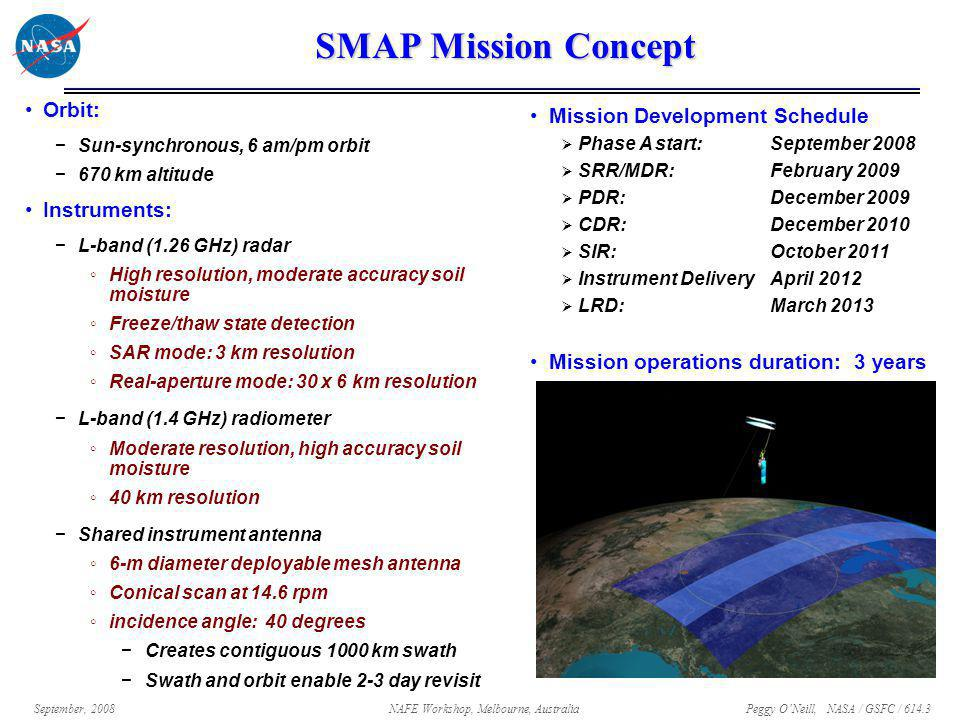 Peggy O'Neill, NASA / GSFC / 614.3 September, 2008NAFE Workshop, Melbourne, Australia SMAP Mission Concept Orbit: −Sun-synchronous, 6 am/pm orbit −670 km altitude Instruments: −L-band (1.26 GHz) radar ◦High resolution, moderate accuracy soil moisture ◦Freeze/thaw state detection ◦SAR mode: 3 km resolution ◦Real-aperture mode: 30 x 6 km resolution −L-band (1.4 GHz) radiometer ◦Moderate resolution, high accuracy soil moisture ◦40 km resolution −Shared instrument antenna ◦6-m diameter deployable mesh antenna ◦Conical scan at 14.6 rpm ◦incidence angle: 40 degrees −Creates contiguous 1000 km swath −Swath and orbit enable 2-3 day revisit Mission Development Schedule  Phase A start:September 2008  SRR/MDR:February 2009  PDR:December 2009  CDR:December 2010  SIR:October 2011  Instrument DeliveryApril 2012  LRD:March 2013 Mission operations duration: 3 years