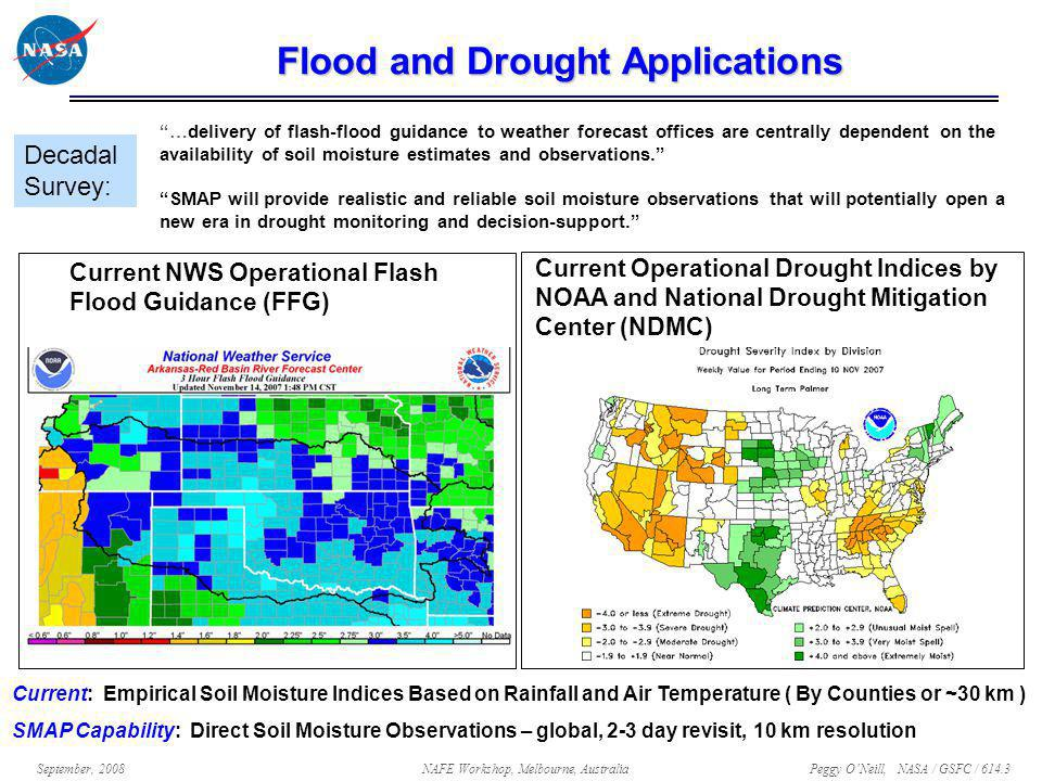 Peggy O'Neill, NASA / GSFC / 614.3 September, 2008NAFE Workshop, Melbourne, Australia Flood and Drought Applications …delivery of flash-flood guidance to weather forecast offices are centrally dependent on the availability of soil moisture estimates and observations. SMAP will provide realistic and reliable soil moisture observations that will potentially open a new era in drought monitoring and decision-support. Decadal Survey: Current: Empirical Soil Moisture Indices Based on Rainfall and Air Temperature ( By Counties or ~30 km ) SMAP Capability: Direct Soil Moisture Observations – global, 2-3 day revisit, 10 km resolution Current NWS Operational Flash Flood Guidance (FFG) Current Operational Drought Indices by NOAA and National Drought Mitigation Center (NDMC)