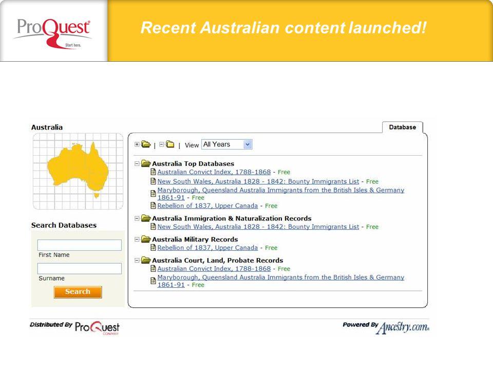 Recent Australian content launched!