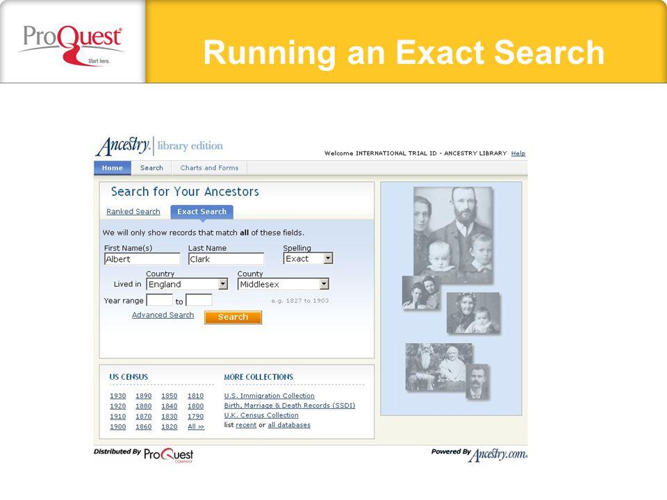 Running an Exact Search