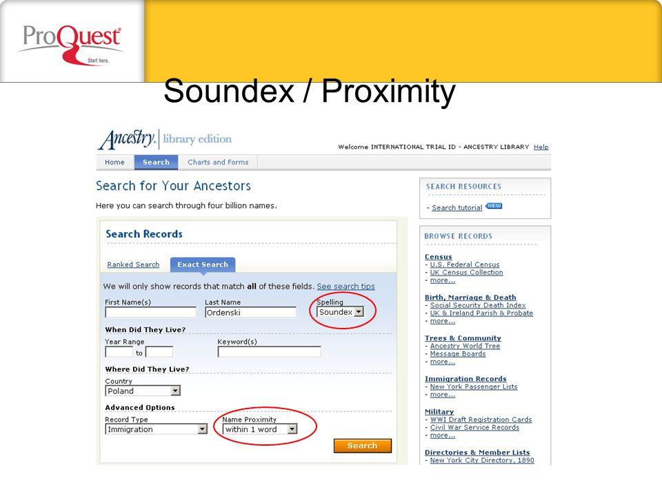 Soundex / Proximity