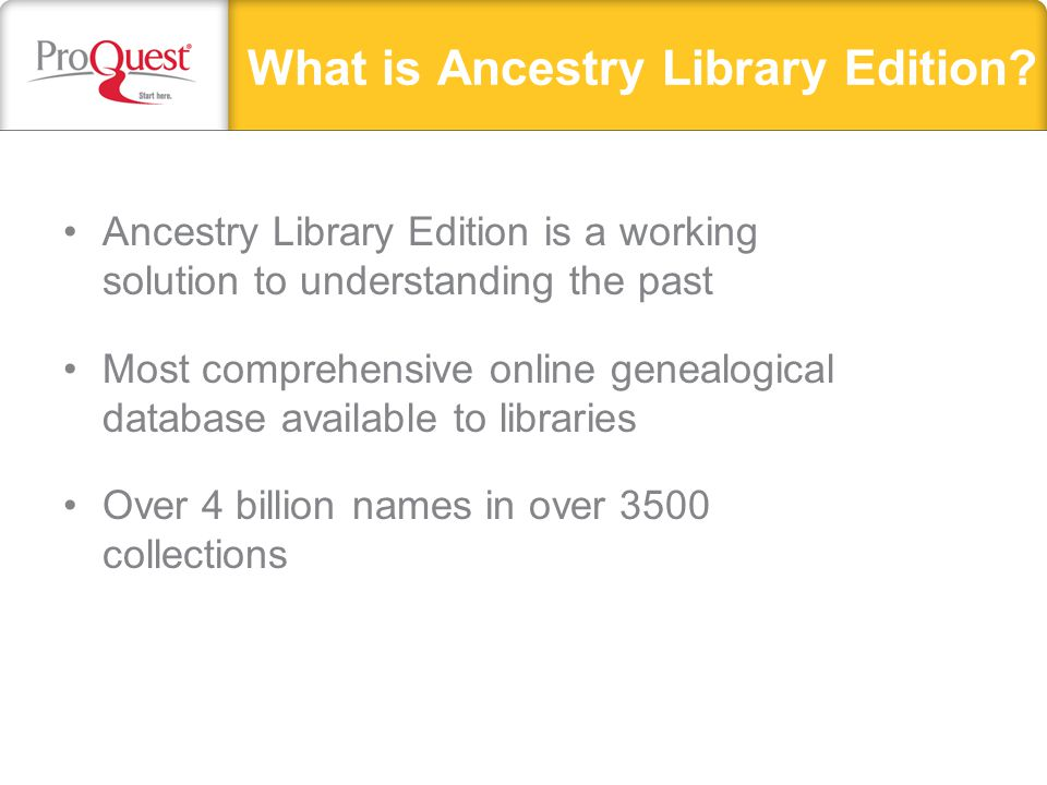 Variations on a theme… Ancestry Library Edition Ancestry.com Ancestry.com.au What's the difference?