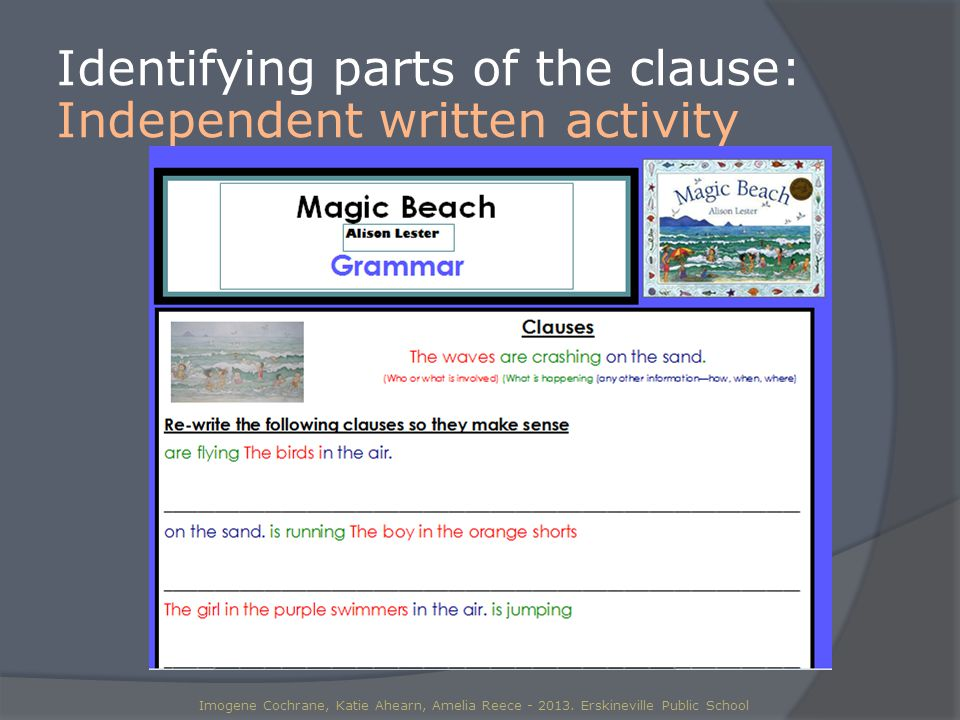Identifying parts of the clause: Independent written activity Imogene Cochrane, Katie Ahearn, Amelia Reece - 2013.